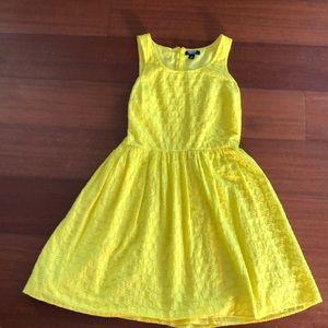Sunshine Yellow Eyelet Spring Mini Dress